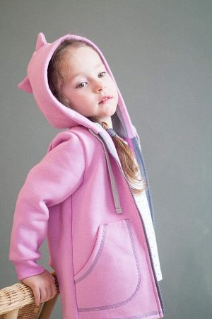 Динотолстовка с начесом на молнии розовый
