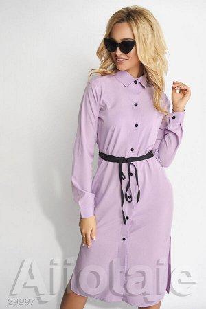 Лиловое платье рубашка с пояском