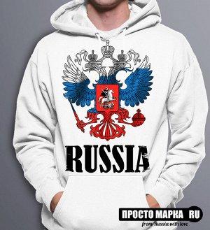 Толстовка с капюшоном Герб России Триколор