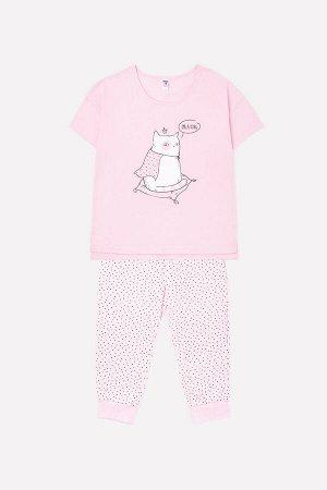 Комплект для девочки КБ 2621 розовый + горошки на розовом