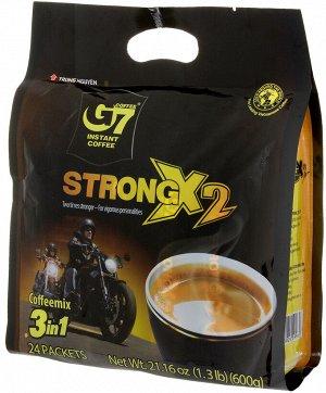 Растворимый кофе  фирмы «G7». «STRONG X2» 3в1,24 пак.*25 гр