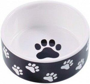 КерамикАрт миска керамическая для собак 420 мл черная с лапками