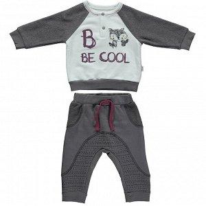 Трикотажный комплект для мальчика из хлопка BE COOL тёмно-серый (свитшот, штаны) | Bebetto | Турция