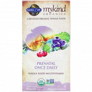 Garden of Life, MyKind Organics, пренатальные мультивитамины, одна таблетка в день, 90 веганских таблеток