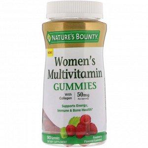 Nature&#x27 - s Bounty, Жевательные таблетки-мультивитамин для женщин, со вкусом малины, 50 мг, 90 жевательных таблеток