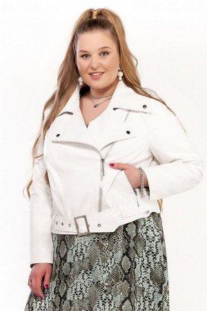 Куртка Куртка Pretty 1210 белый  Состав: Вискоза-10%; ПЭ-90%; Сезон: Весна Рост: 164  Женская куртка, выполненная из эко-кожи.Застежка смещенная на тесьму-молнию, располагается в рельефном шве переда