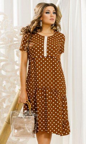 Платье Платье Vittoria Queen 11373/1 коричневый (горохи)  Состав ткани: ПЭ-100%;  Рост: 164 см.  Отличное повседневное платье в кокетливый горошек! Стильная коричневая расцветка изумительно подойдет