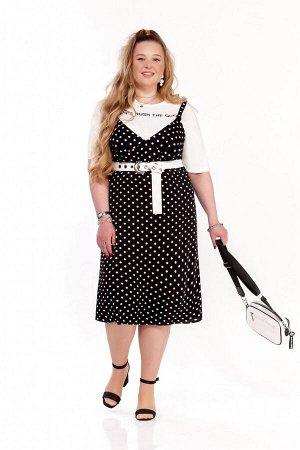 Костюм Костюм Pretty 1234 черный  Состав ткани:Платье: Вискоза-10%; ПЭ-90%; Майка: Хлопок-100%;  Рост: 164 см.  Женский комплект двойка, состоящий из сарафана прямого силуэта и базовой футболки.  Сар