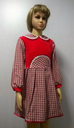 Шотландка комбинированное платье детское