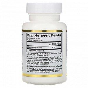 California Gold Nutrition, AlphaWave, L-теанин, поддерживает расслабление и спокойную концентрацию, 200 мг, 60 растительных капсул