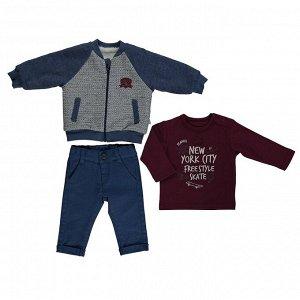 Комплект для мальчика из трех предметов SMART BABY синий (свитшот, брюки, жакет) | Bebetto | Турция
