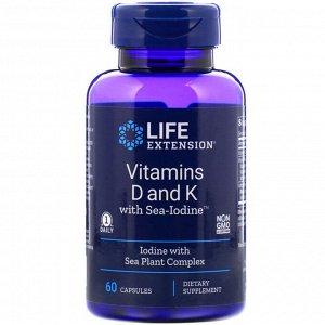 Life Extension, Витамины D и К с Sea-Iodine, 60 капсул