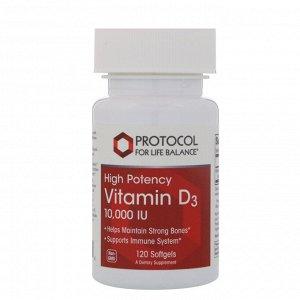 Protocol for Life Balance, Витамин D-3, 10 000 ИЕ, 120 мягких капсул