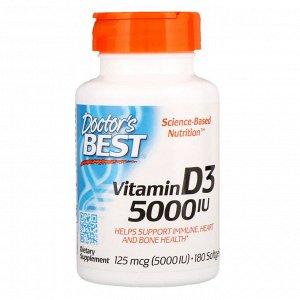 Doctor&#x27 - s Best, Витамин D3, 125 мкг (5000 МЕ), 180 мягких желатиновых капсул