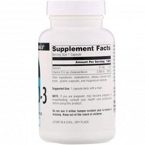 Source Naturals, Витамин D3, 2000 МЕ, 200 мягких таблеток