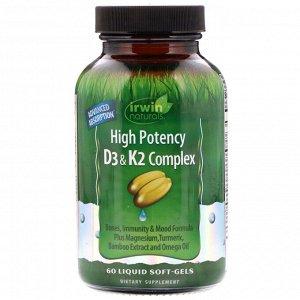Irwin Naturals, Высокоэффективный комплекс D3 и K2, 60 мягких таблеток с жидкостью