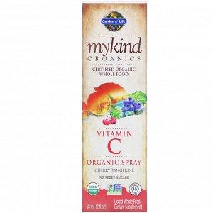Garden of Life, MyKind Organics, органический спрей с витамином C, вкус вишни и мандарина, 58 мл (2 жидкие унции)
