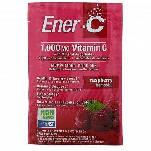 Ener-C, витамин C, смесь для приготовления мультивитаминного напитка со вкусом малины, 30 пакетиков, 277 г (9,8 унции)