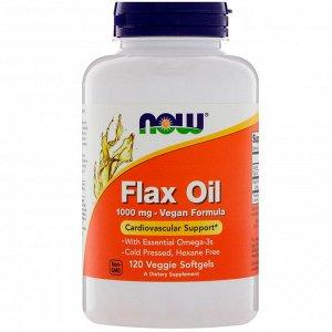 Now Foods, Льняное масло, 1000 мг, 120 растительных мягких капсул
