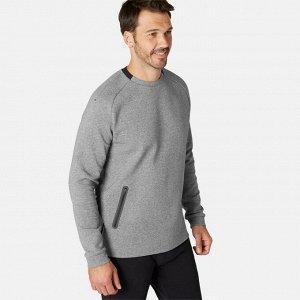 Толстовка для фитнеса мужская с карманом на молнии 540 серая DOMYOS