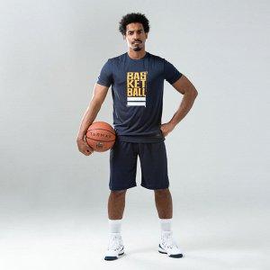 Футболка баскетбольная мужская сине-желтая ts500 street tarmak