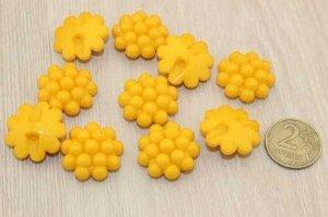 Пуговицы-кабошон 25мм (насыщенный желтый), упак.10шт