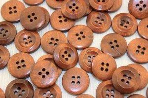 Пуговицы деревянные 20мм (коричневый), упак. 50гр (55-60 шт)