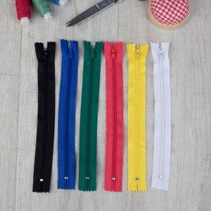 Набор молний «Спираль», №3, неразъёмные, 20 см, 6 шт, разноцветные