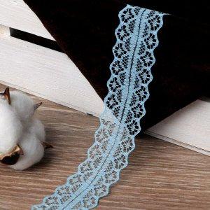 Кружево капроновое, 30 мм x 10 х 1 м, цвет голубой