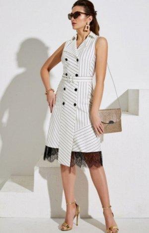 Платье Сарафан со стояче - отложным воротником, двубортной застёжкой на петли и пуговицы и съёмным поясом из основной ткани на уровне талии. Перед с отрезной центральной частью и рельефами. Спинка с д