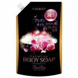 """Увлажняющее пенное мыло для тела с аргановым маслом MITSUEI """"Pure Body"""" Premium, аромат розы, мягкая упаковка 840 мл"""