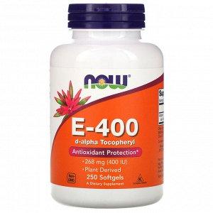 Now Foods, Натуральный витамин E-400, 268 мг, 250 мягких желатиновых капсул