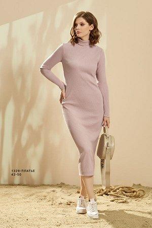 Платье 90% ХЛОПОК 10% ЭЛАСТАН Стильное платье – миди пыльно- сиреневого цвета. Платье- гольф из плотного трикотажного полотна с выраженной структурой ткани. Платье очень хорошо тянется и подчеркивает