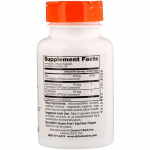 Doctor&#x27 - s Best, PepZin GI, комплекс цинк-L-карнозина, 120 растительных капсул