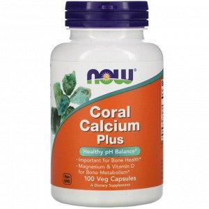 Now Foods, Коралловый кальций плюс, 100 растительных капсул