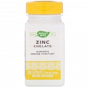 Nature&#x27 - s Way, Хелат цинка, 30 мг, 100 капсул