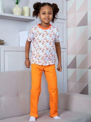 16497 Пижама (футболка, штаны) с лисичками для девочки
