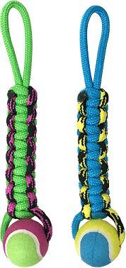 Petpark игрушка для собак Плетенка с теннисным мячом и петлей 8 см
