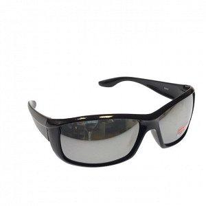 Стильные мужские очки Swer в чёрной оправе с зеркально-серебристыми линзами.