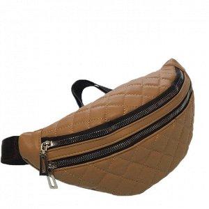 Поясная сумочка Co_Charel из эко-кожи стёганая карамельного цвета.