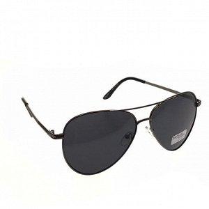 Стильные мужские очки-капли Amato в тёмной оправе с чёрными линзами.