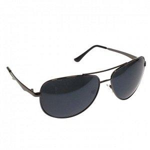 Стильные мужские очки-капли Azur в тёмной оправе с чёрными линзами.