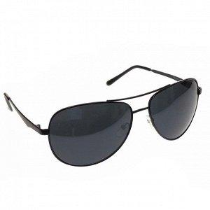 Стильные мужские очки-капли Azur в чёрной оправе с чёрными линзами.