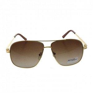 Стильные мужские очки-капли Rumer в золотистой оправе с кофейными линзами.