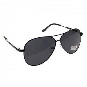 Стильные мужские очки-капли Pur_Homme в чёрной оправе с чёрными линзами.
