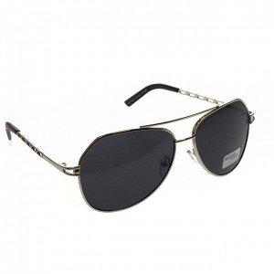Стильные мужские очки-капли Marsel в серебристой оправе с чёрными линзами.