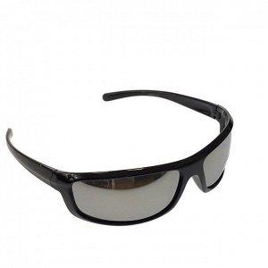 Стильные мужские очки Venzo в чёрной оправе с зеркально-серебристыми линзами.