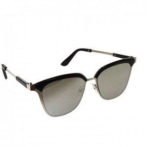 Стильные женские очки оверсайз Ellу в серебристой оправе с зеркально-серебристыми линзами.