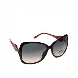 Стильные женские очки оверсайз Wels чёрного цвета с красными дужками.