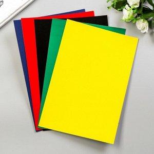 """Цветной картон """"Цветные круги""""  бархатный, А4, набор 5шт"""